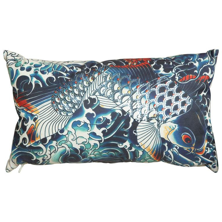Ultra Modern Pillows : Ultra Chic Jean Paul Gaultier Pillow in Blue For Sale at 1stdibs