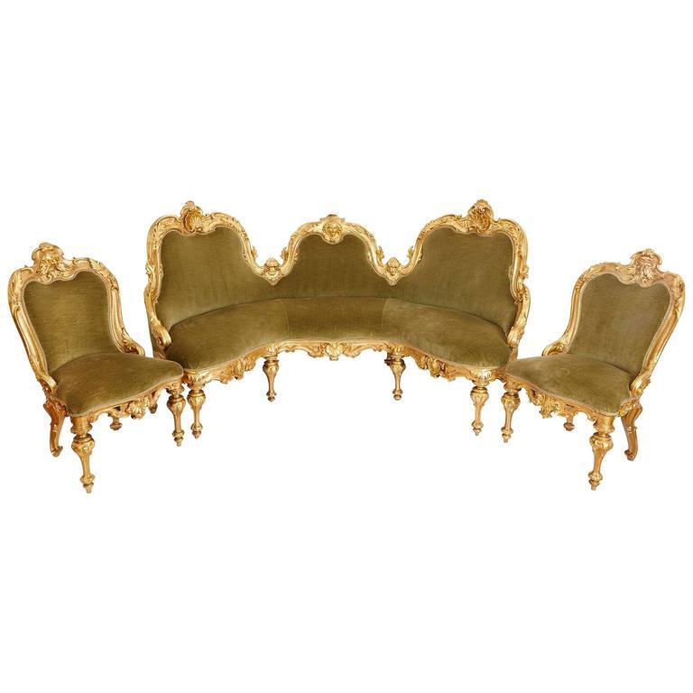 Italian Giltwood Antique Three-Piece Salon Suite For Sale