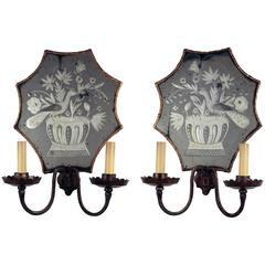 Pair of Baguès Etched Mirror Back Wall Sconces