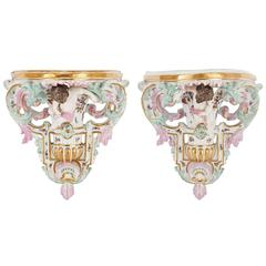 Pair of Antique Porcelain Wall Brackets by Samson et Cie