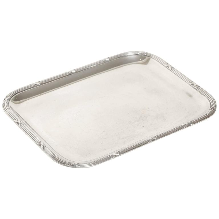 Charles Tirbour French Art Deco Small Rectangular Sterling Silver Tray