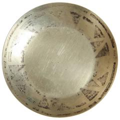 Jean Dunand, French Art Deco Brass and Silver Circular Dinanderie Coupelle