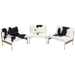 Glenn of California Lounge Chairs Restored in Brazilian Cowhide - A Trio