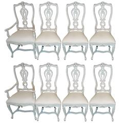 Set of Eight Carved abd Painted Dining Chairs