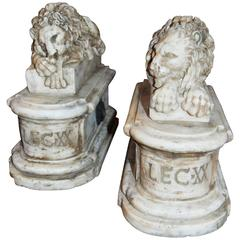 Pair of Carved Marble Lions on Marble Stands