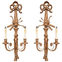 Pair of 19th Century French Louis XVI Carved Giltwood Sconces with Bows