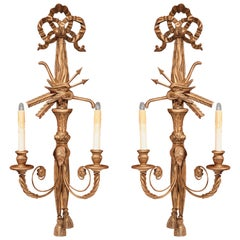 Pair of 19th Century French Louis XVI Carved Giltwood Two-Light Sconces