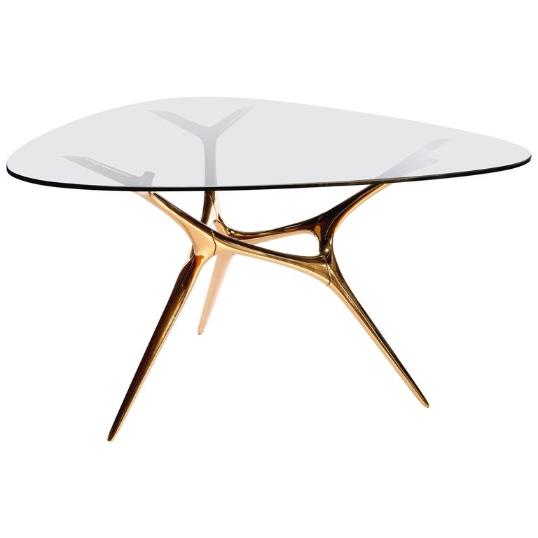 Contemporary E-Volved Table in Polished Bronze and Etched Glass For Sale