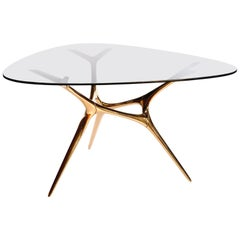 Contemporary E-Volved Table in Polished Bronze and Etched Glass