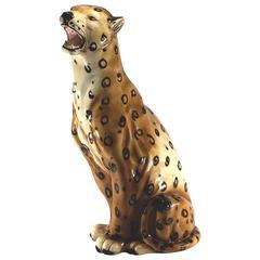 Big Italian Ceramic Leopard Sculpture