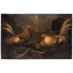 Landscape with Chickens, French, Oil On Canvas