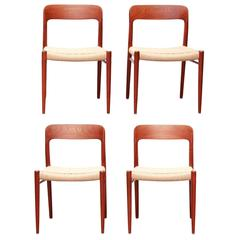 Model 75 Teak Papercord Dining Chairs by Niels O. Møller for J.L.Møller