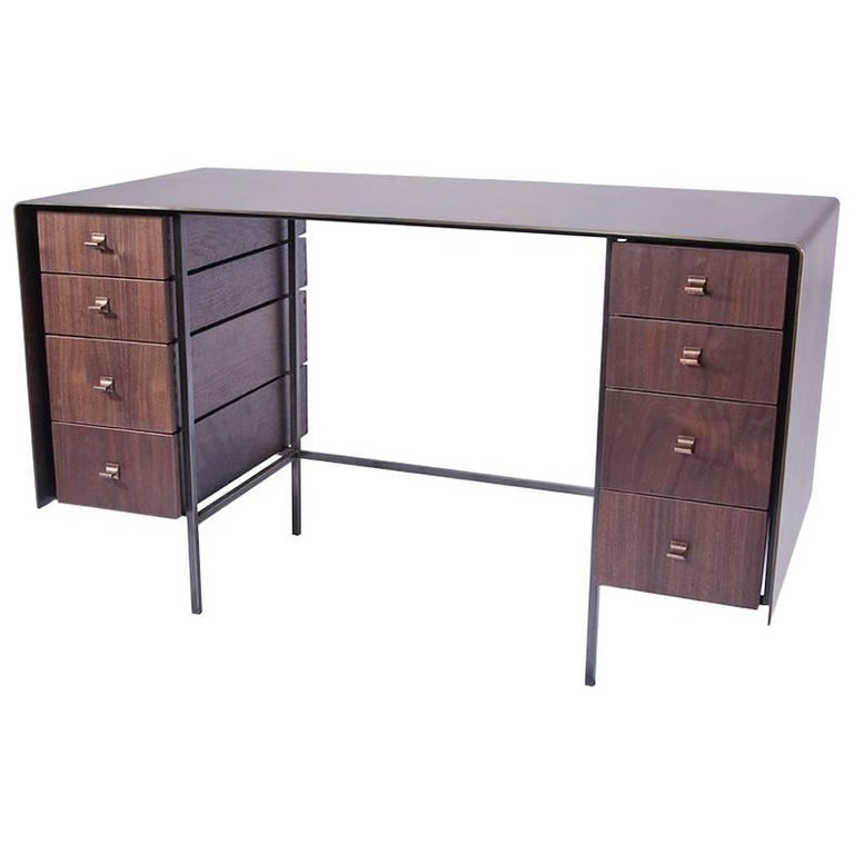 Custom Bent Office/Writing Desk, Made of Bronze and Walnut Drawers For Sale