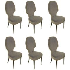 Set of Six Sculptural Italian Dining Room Chairs