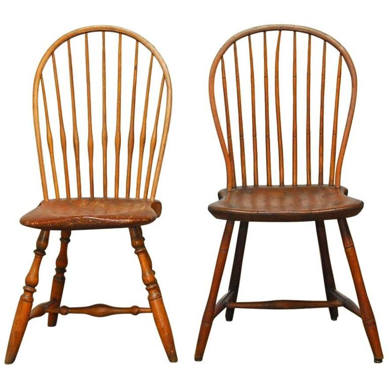 Assembled Pair Of American Bow Back Windsor Chairs For Sale