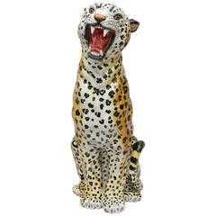 Italian Glazed Terracotta Life-Size Leopard Figure