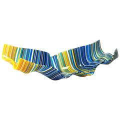 Large Crystal Barcode Multi-Color Yellow and Blue Centrepiece by Orfeo Quagliata