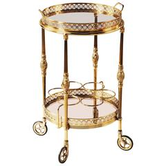 Maison Bagues French Brass and Gilt Bar Cart, Drinks Trolley, Cocktail Table