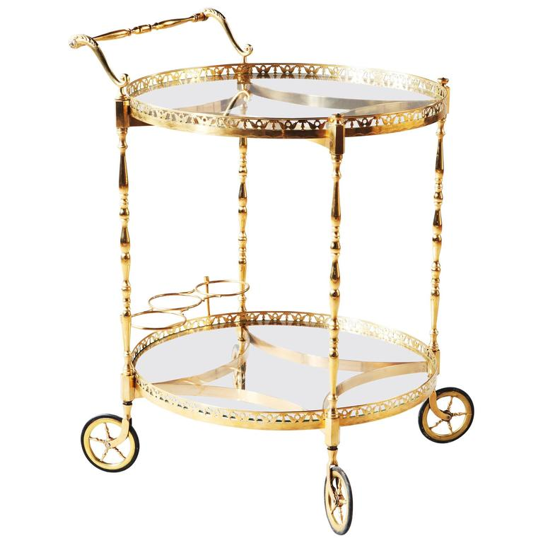 Superb Polished Brass Round Bar Cart Drinks Trolley Attributed to Maison Jansen For Sale