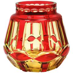 Art Deco Ruby over Yellow Uranium Cut-Glass Vase by Val St Lambert VSL