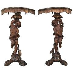 Pair of 19th Century Italian Hand-Carved Cherub Consoles