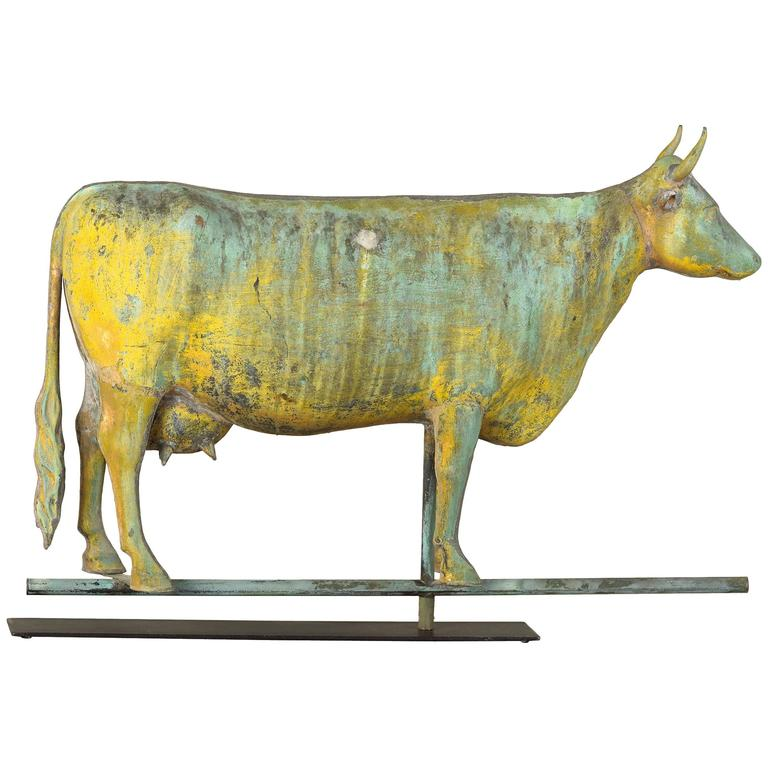 Molded Copper and Cast Zinc Cow Weathervane