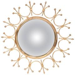 Mid-20th Century French Brass Sunburst Mirror with Convex Glass