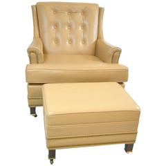 Hancock and Moore Tan Leather Club Chair and Ottoman with Nailhead Trim