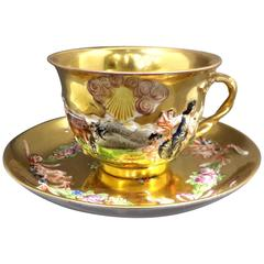 Capodemonte Gilded Cup and Saucer, 19th Century