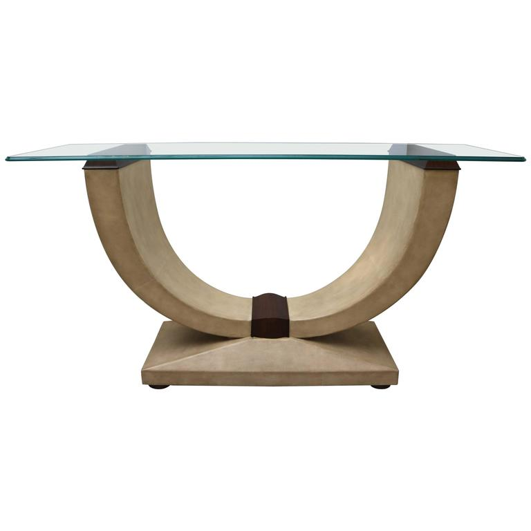 Exceptional Art Deco Style Console Table In Shagreen, Zebra Wood And Glass Top For Sale