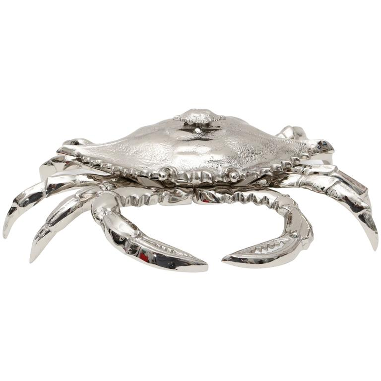 Nickle-Plated Life Size Crab-Form Lidded Dish by Angel & Zevallos
