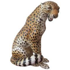 "Italian Ceramic Cheetah Hand-Painted Figure Signed ""Bonzani"" ""Monzani"""