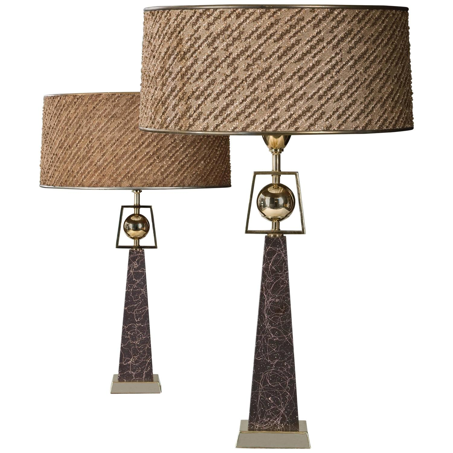 Rembrandt, Pair Of American Lacquered Obelisk Lamps With Original Period  Shade