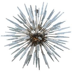Large Nickel Finished Sputnik Chandelier with Murano Glass Spikes