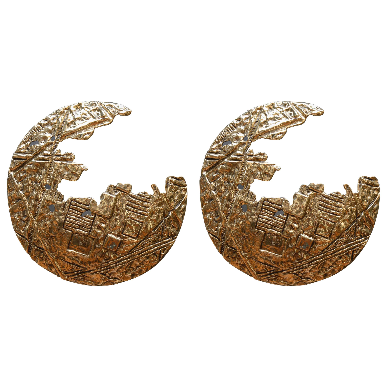 Lunar Pair of Bronze Wall Sconces by Angelo Brotto for Esperia
