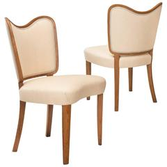 Axel Einer Hjorth, Pair of Curvaceous Swedish Oak Side Chairs