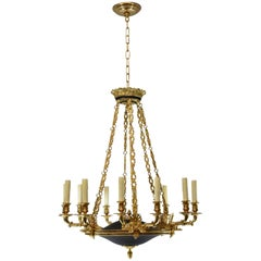 Italian Neoclassic Style Black Ebonized and Bronze 12 Light Chandelier