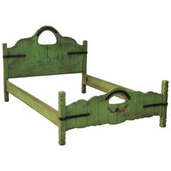 1930s Hard to Find Double Signed Monterey Keyhole Bed in Spanish Green
