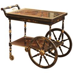 Early 20th Century French Hand-Painted Bar Cart with Chinoiserie Motifs