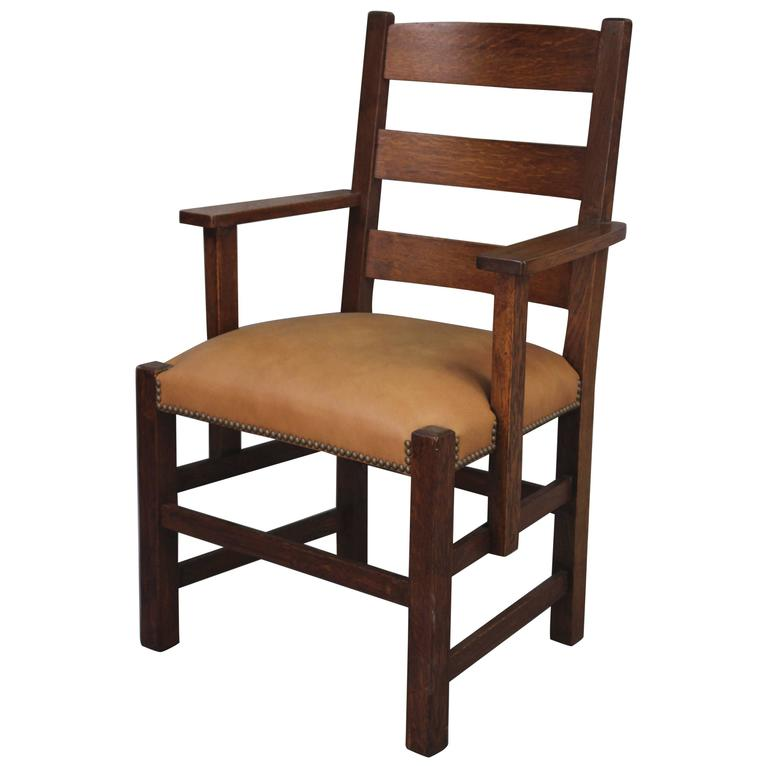 1910 Handsome Turn of the Century Oak Arts & Crafts Chair