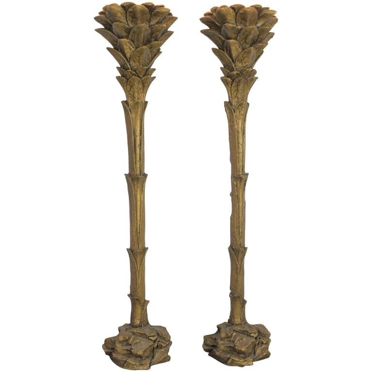 Gilded Palm Tree Torchiere Style Floor Wall Sconce Lamps