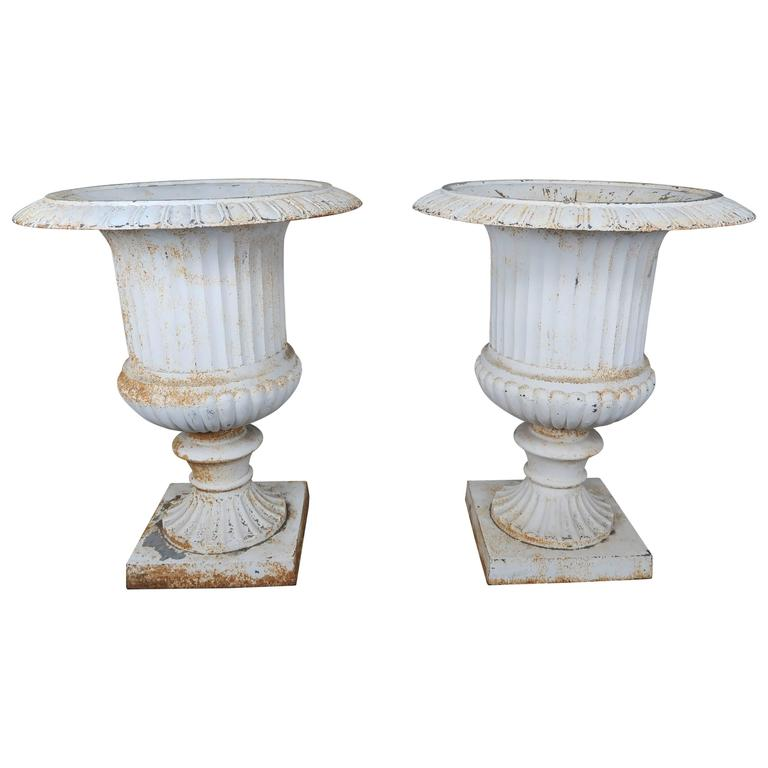 Monumental Painted Cast Iron Planters, Pair 1