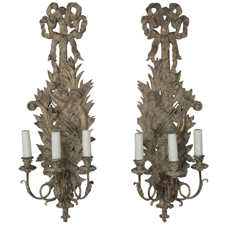 Pair of French Carved Wood Sconces, circa 1920 1