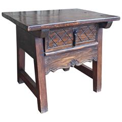 Antique Carved Spanish End Table, circa 1870