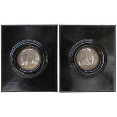 Pair of Black Lacquer Convex Mirrors