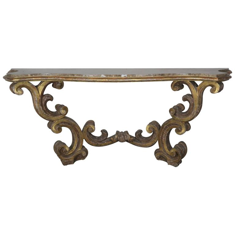 Italian Giltwood Consoles with Marble Top 1