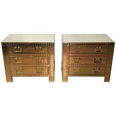 Pair of Brass Campaign Style Chests or Nightstands