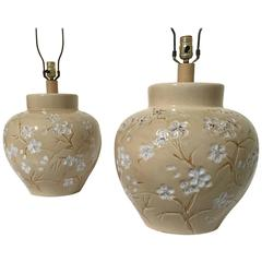 Pair of 20th Century Floral Ceramic Lamps