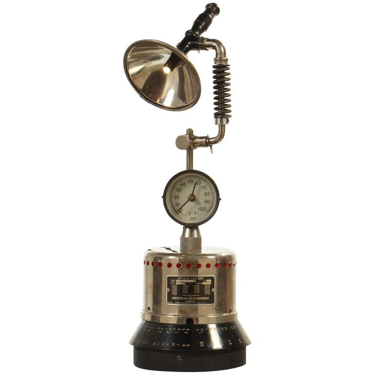LED Industrial Desk Lamp Or Table Lamp With Clock At 1stdibs