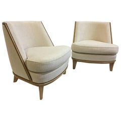 Important Art Deco Bergère Armchairs by Jean-Maurice Rothschild